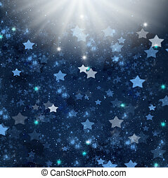 christmas stars - blue christmas stars background with light...