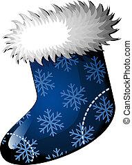 Christmas stocking - Blue Christmas stocking over white. EPS...