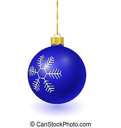 blue christmas tree ball with snowflake pattern