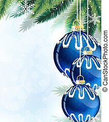 Blue Christmas tree balls and pine branches