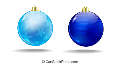 Blue Christmas tree balls. Vector. Isolated.