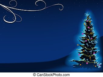 Blue Christmas Tree - christmas background illustration