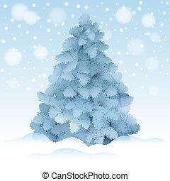 Blue Christmas tree, realistic vector illustration.