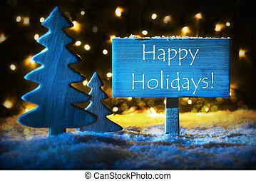 Blue Christmas Tree, Text Happy Holidays