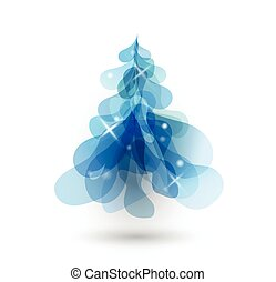 Blue Christmas tree with blurred lights on white background.