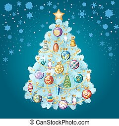 Blue Christmas tree with colorful ornaments, vector illustration.
