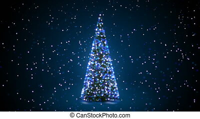 Blue Christmas Tree with Flashing Lights Turning in Snowfall in Defocused Blur Bokeh. Greeting Background Seamless 3d Animation. Merry Christmas and Happy New Year Concept. 4k Ultra HD 3840x2160