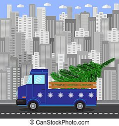 Blue Christmas Truck with Green Fir on Grey City Building Background