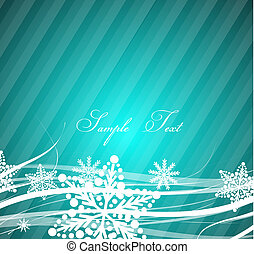 Blue Christmas wavy lines background - Vector illustration...