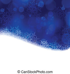 Blue Christmas, winter background with blurry lights - Shiny...