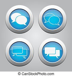 blue chrome buttons set-white speech bubbles icons