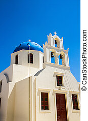 Blue Church Cupola in Santorini, Greece