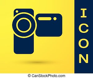 Blue Cinema camera icon isolated on yellow background. Video camera. Movie sign. Film projector. Vector Illustration