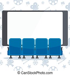 blue cinema chairs and screen