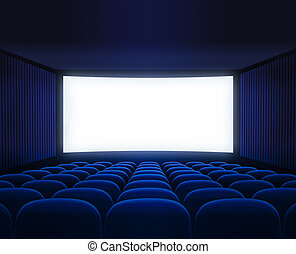 blue cinema empty hall with blank screen for movie presentation