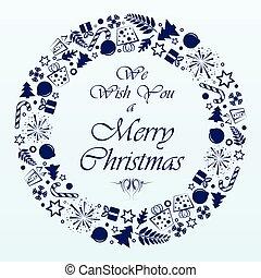 Blue circle christmas background