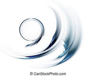 Blue circular speedy motion on white background, circle in rotation,