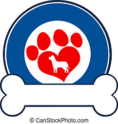 Blue Circle Label Design With Paw