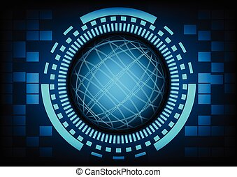 Blue circle of globe with ring and gears in technology background, Vector illustration.