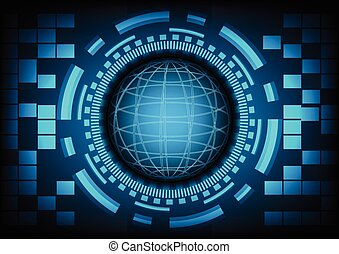 Blue circle of globe with ring and gears on dark blue background. Vector illustration in technology background concept.