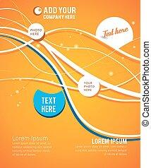Blue circle on orange wave background - flyer design