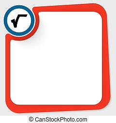 Blue circle with square root and red frame for your text