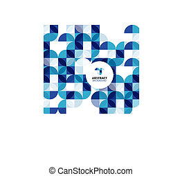 Blue circles geometrical abstract background