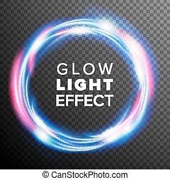 Blue Circles Glow Light Effect Vector. Swirl Trail Effect....