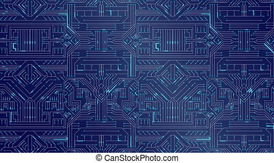 Blue circuit board - Digitally generated blue circuit board