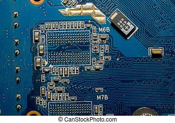 Blue Circuit Board Macro