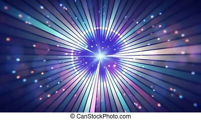 blue circular rays and particles party loop background