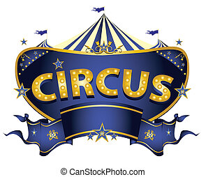A blue circus sign on a white background for your entertainment