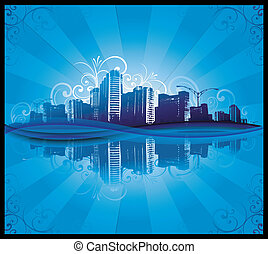 Blue city background - abstract city sunlight