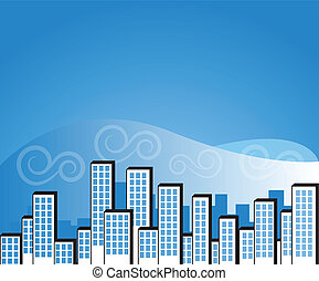 blue city background