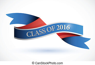 blue class of 2016 ribbon banner illustration design over a...
