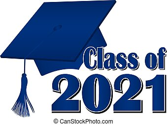 Blue Class of 2021 Graduation Cap