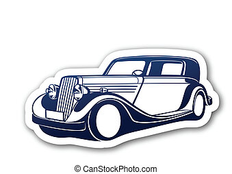 Blue classic auto over paper