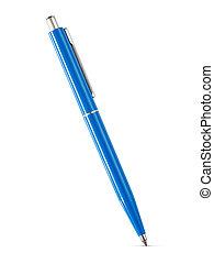 blue classic ballpoint pen isolated