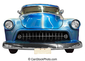 Blue classical vintage automobile. Isolated over white...