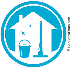 cleaning house icon - blue cleaning house icon with mop and...