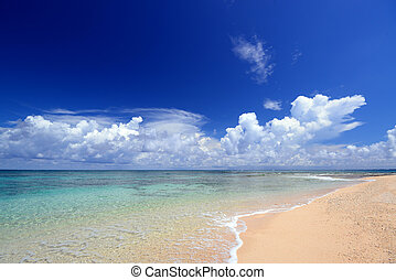 Blue clear sea with clouds