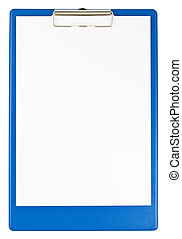 Blue clipboard and paper isolated on white background