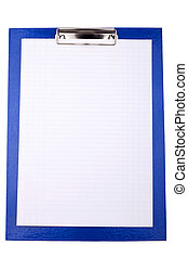 Blue clipboard with blank sheet of paper