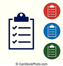 Blue Clipboard with checklist icon isolated on white background. Vector Illustration
