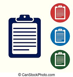 Blue Clipboard with document icon isolated on white background. Vector Illustration