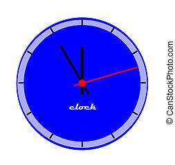 Blue clock face.