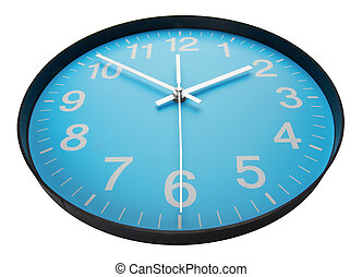 Blue clock face, close up. Isolated on white