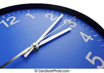 Blue clock face, close up