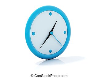Blue clock icon isolated on white
