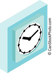 Blue clock icon, isometric style